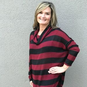 Sweaters - It's on Point Tunic, Red and Black Stripe